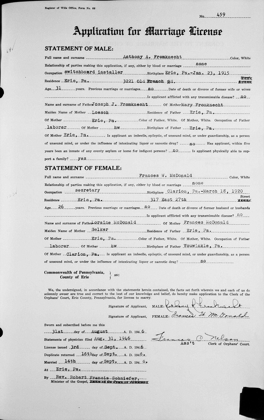 MB Boutiques: Historical Records &emdash; Pennsylvania, County Marriages, 1885-1950 004480664 Image 634 or