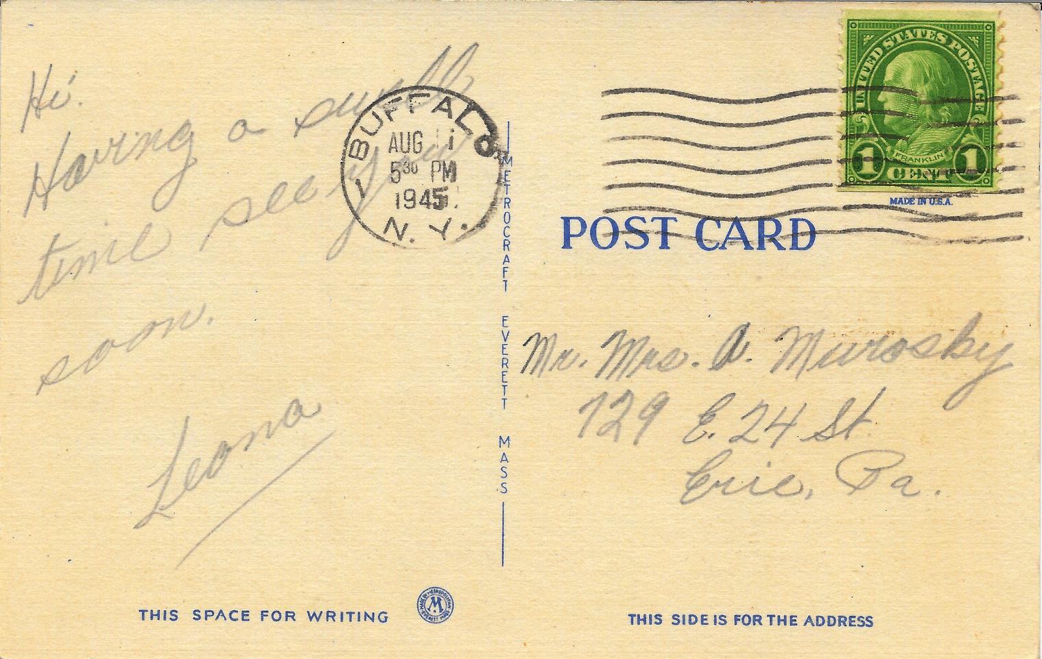 Michelle M. Murosky: The Postcard Collection &emdash; August 1945